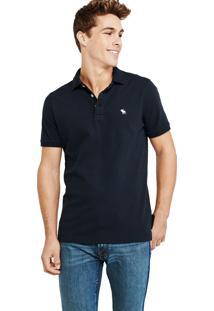 Camiseta Polo Abercrombie Clássica Azul Marinho