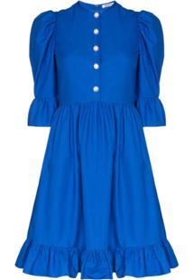 Batsheva Prairie Ruffled Mini Dress - Azul