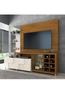 Estante Home Theater Para Tv Até 42 Polegadas 1 Porta 1 Gaveta Com Espelho E Adega New Turati 100% Mdf Carvalho Americano/Off White - Dj Móveis