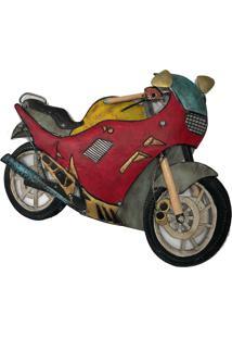 Escultura De Parede Metal Moto Esportiva Vintage 58X70X3Cm