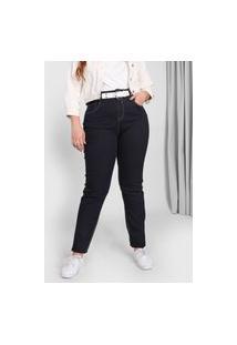 Calça Jeans Lnd Lunender Mais Mulher Plus Skinny Pespontos Azul-Marinho