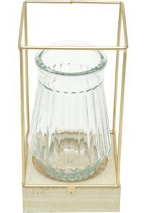Vaso De Vidro Com Led E Suporte De Madeira Glass Cobre Urban Home