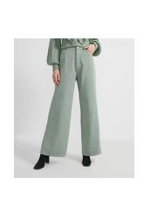 Calça Sarja Pantalona Com Bolso   A-Collection   Verde   42