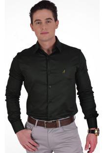 Camisa Social Verde Musgo Levok Super Slim.