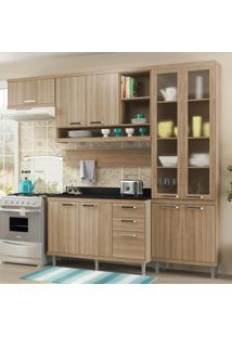 Cozinha Compacta 9 Portas Com Tampo E Vidro 5817 Argila - Multimóveis