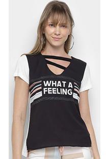 Camiseta Acostamento Recorte Manga Curta Feminina - Feminino-Preto