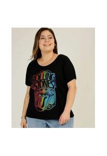 Blusa Plus Size Feminina Estampada Rolling Stones