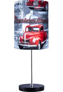 Abajur Carambola Classic Car Preto E Vermelho
