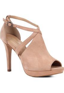 Sandália Shoestock Nobuck Meia Pata Feminina - Feminino-Nude