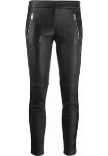 Alexander Mcqueen Calça Skinny De Couro Com Acabamento Em Renda - Preto