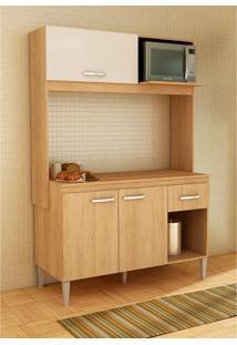 Cozinha Compacta Com Tampo 3 Portas Sarah – Fellicci - Carvalho / Branco