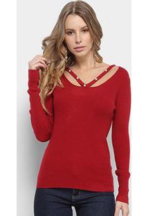 Blusa Adooro! Sueter Tricot Perolas Feminina - Feminino-Vermelho