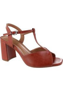 Sandália Salto Alto M Shuz Grandiose Brown Feminina - Feminino-Marrom Claro+Marrom Escuro