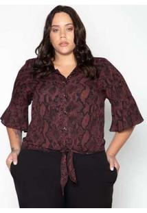 Camisa Plus Size Animal Print Vinho