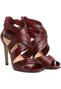 Sandália Couro Shoestock Salto Fino Drapeada Feminina