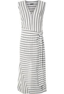 Osklen Vestido Longo Pareo Stripe - Branco