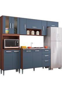 Cozinha Compacta 8 Portas Com Balcão E Pia Inox Lavínia Capuccino/Cinz