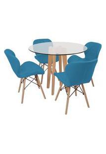 Conjunto Mesa De Jantar Em Vidro 90Cm Com Base Vértice + 4 Cadeiras Slim - Turquesa