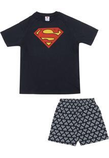 9aa11efcf0ea53 Pijama Lupo Urban Superman Preto