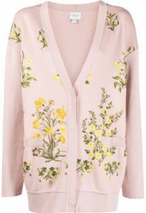 Giambattista Valli Cardigan Com Estampa Floral De Tricô - Rosa