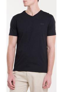 Camiseta Slim Flamê Gola V Calvin Klein - Preto - Pp