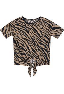 T-Shirt Estampada Em Malha De Algodão Com Amarração