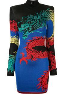 Balmain Vestido Gola Alta Estampado - Azul