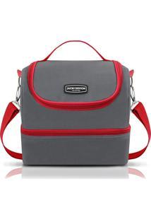 Bolsa Térmica G Cinza E Vermelha - Jacki Design