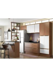 Cozinha Completa Multimóveis Com 8 Peças Calábria 5464R Nogueira/Branco