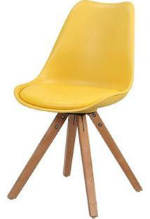 Cadeira Ligia Eames Pp Base Madeira Amarela