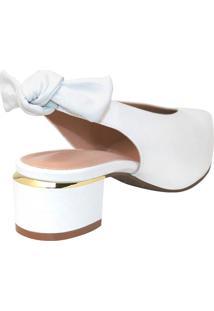 Scarpin Stéphanie Classic Laço Couro Branco