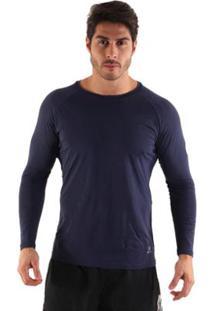 Blusa Líquido Uv Manga Longa Masculina - Masculino-Azul