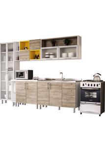 Cozinha Compacta Com 9 Peças Floripa 27-Politorno - Branco / Carvalho Claro