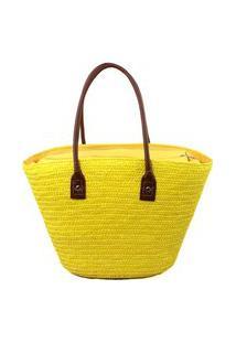 Bolsa De Praia Palha 0015 Amarelo