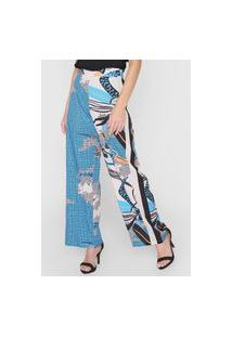 Calça Morena Rosa Pantalona Recortes Azul