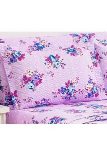 Kit 2 Porta Travesseiros Petit Floral Lilac