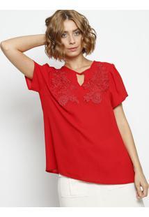 Blusa Lisa Com Renda- Vermelha - ÊNfaseãŠNfase