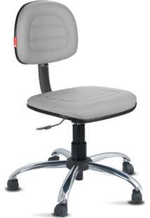 Cadeira Secretária Costura Cromada Courvin Cinza
