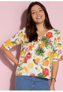 Blusa Floral Frutado Com Amarração