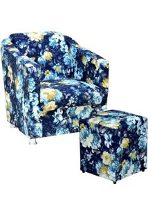 Poltrona Decorativa Para Sala Com Puff Laura Azul Estampado - Lyam Decor