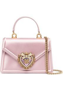 Dolce & Gabbana Bolsa Transversal Devotion Mini De Cetim - Rosa