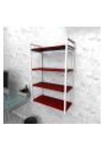 Estante Industrial Escritório Aço Cor Branco 60X30X98Cm Cxlxa Cor Mdf Vermelho Modelo Ind48Vres