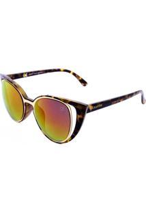 Óculos De Sol Khatto Tartaruga Lente Rosa