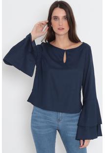 Blusa Lisa Com Recorte- Azul Marinho- Malweemalwee