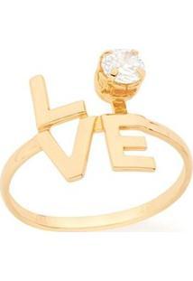 Anel Skinny Ring Love Com Zircônia Rommanel - Feminino-Dourado