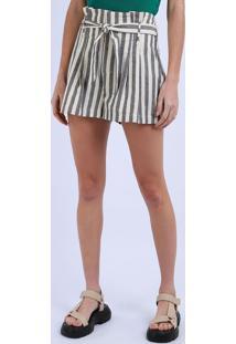 Short Feminino Clochard Cintura Alta Listrado Com Faixa Para Amarrar E Bolsos Off White