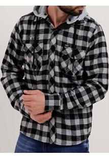 Camisa Flanela Manga Longa Masculina Gangster Preto