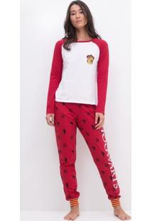 Pijama Com Estampa Hogwarts Grifinória