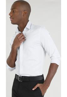 Camisa Masculina Slim Texturizada Manga Longa Cinza Claro