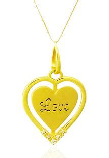Pingente Love Ouro 18K Brilhantes Vj3737